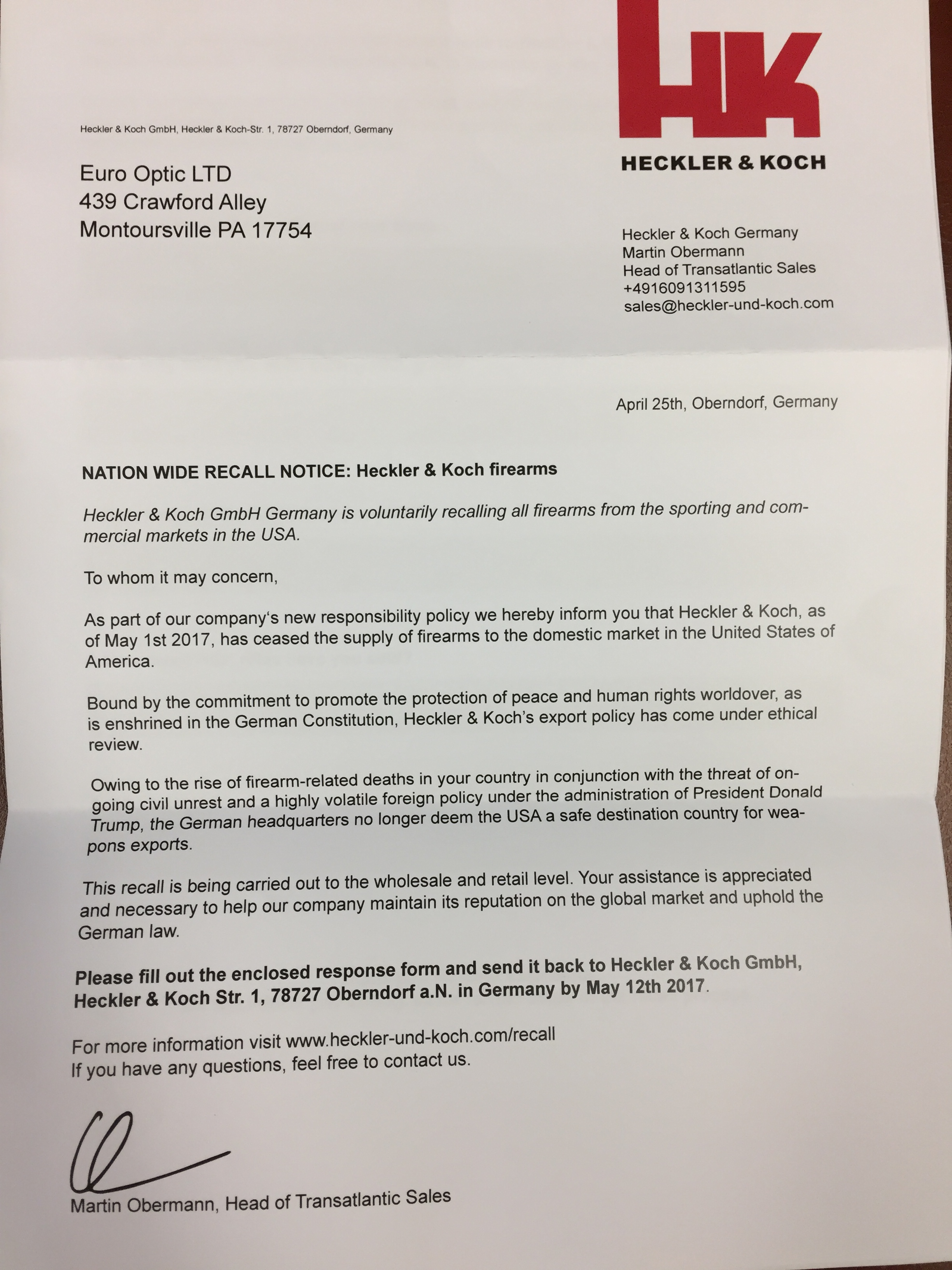 Letter Received from Heckler & Koch