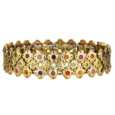 "Alex Sepkus 18K Sapphire and Diamond ""Flora"" Bracelet"