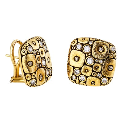 "Alex Sepkus 18K and Diamond ""Soft Mosaic"" Earrings"
