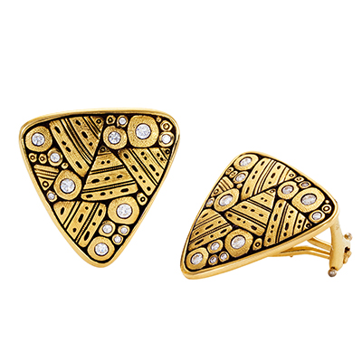 "Alex Sepkus 18k and Diamond ""Paved Garden"" Earrings E-188D"