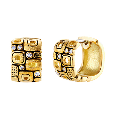 "Alex Sepkus 18k and Diamond ""little Windows"" Huggie Earrings"
