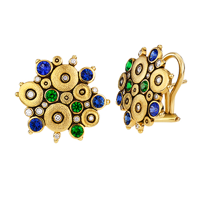 "Alex Sepkus 18K Diamond Tsavorite Sapphire ""Ocean"" Earrings E-90"