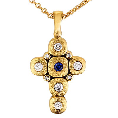 "Alex Sepkus 18K, Sapphire and Diamond ""Candy"" Cross Necklace"