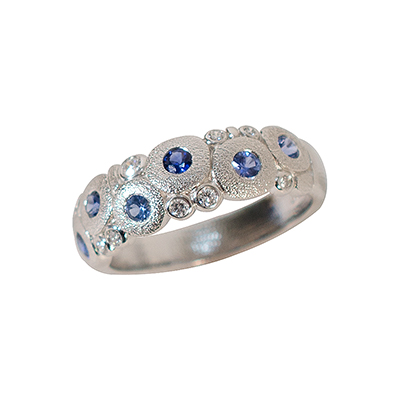 "Alex Sepkus Platinum, Sapphire and Diamond ""Candy"" Ring"