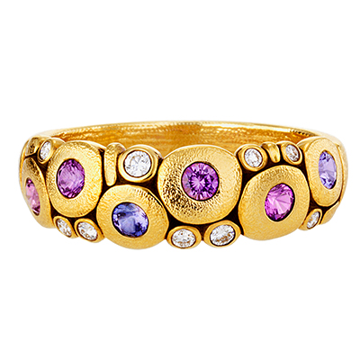 "Alex Sepkus 18K Sapphire and Diamond (Purple & Violet) ""Candy"" Dome Ring"