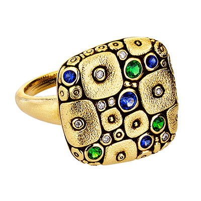 "Alex Sepkus 18K, Sapphire and Diamond ""Soft Mosaic"" Ring"
