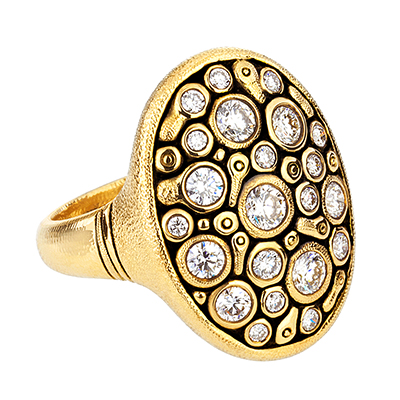 "Alex Sepkus 18K and Diamond ""Constellation"" Dome Ring"
