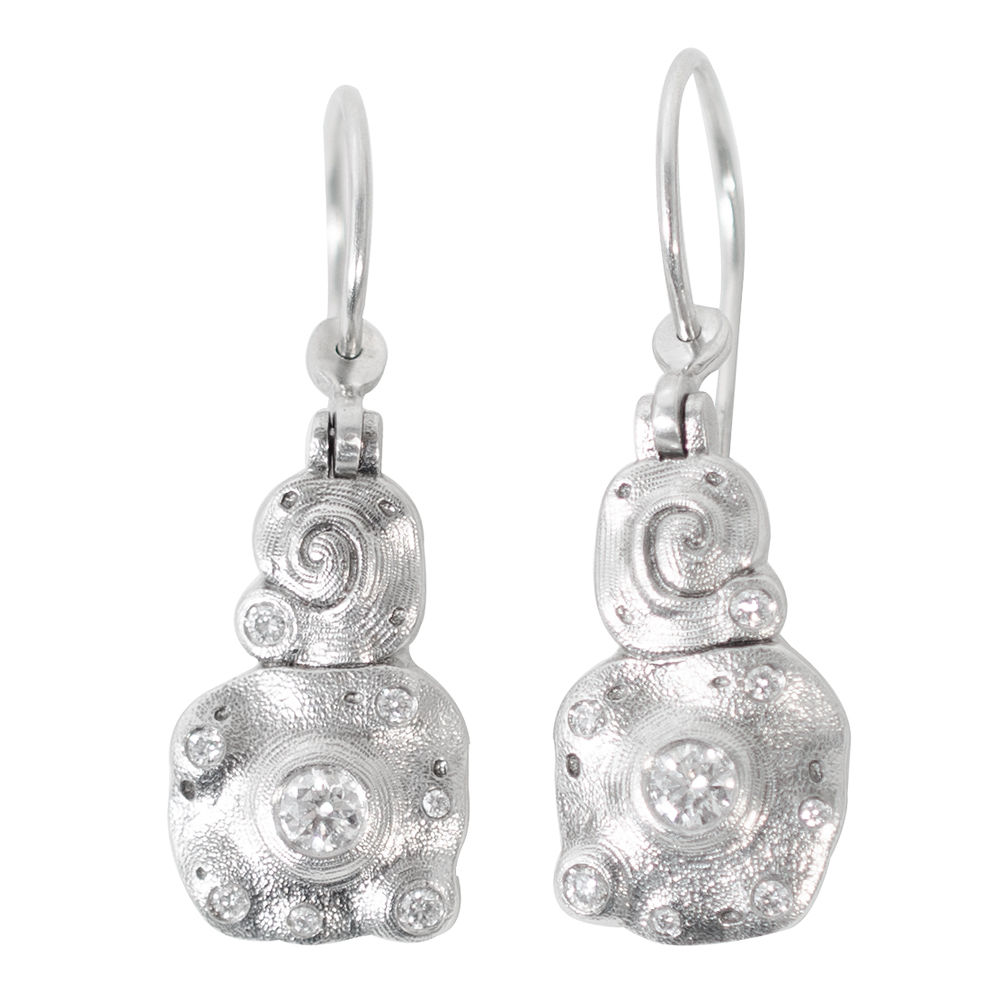 "Alex Sepkus Platinum and Diamond ""Evening Flowers"" Earrings"
