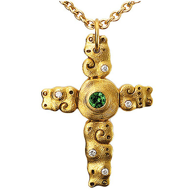 "Alex Sepkus 18K, Sapphire and Diamond ""Sea"" Cross Pendant"