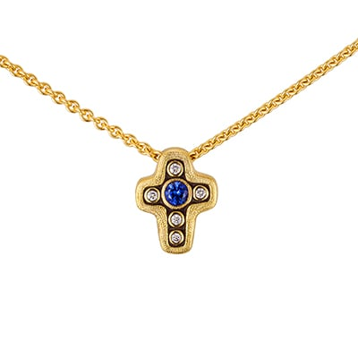 Alex Sepkus 18K, Diamond, Tsavorite, or Sapphire Cross Pendant