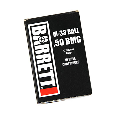 Barrett .50 BMG Headstamp, M33 Ball, 10 Round Box MPN 14670