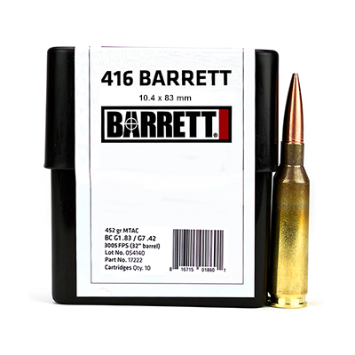 Barrett Ammo .416 Barrett CEB 452 Gr MTAC Box of 10 17222