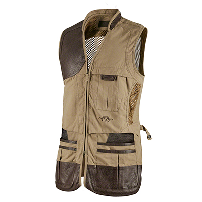 Blaser Men 's Parcours Shooting Vest (Brown w/leather accents) MD BAOVMBRO