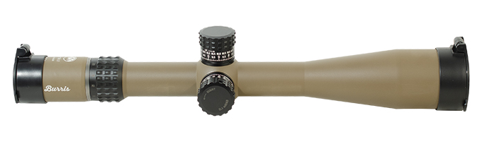 Burris XTRII Riflescope 5X-25X-50mm Illum SCR Mil Front Focal reticle FDE finish XT-100 Mil MPN 201056 mounted. UA1711