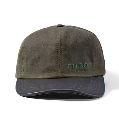 Filson Otter Green Tin Cloth Leather Cap FIL-30038-OtterGreen