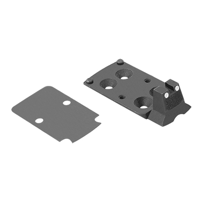 Optics plate w/ integral co-witness rear white dot sight for Trijicon RMR optics
