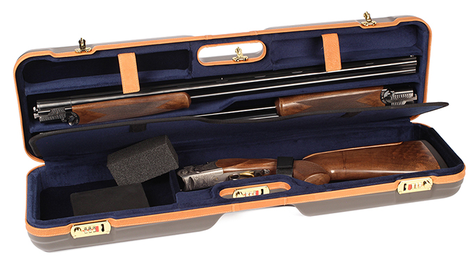 Negrini One Gun - Two Barrels OU SXS Skeet Trap Hunting  ABS Brown with Tan Leather and Blue interior. 1621BLX/5388