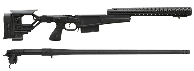"Remington 700P MLR 338 Lapua Mag with Accuracy International AX CIP Chassis - 16"" forend tube BLACK"
