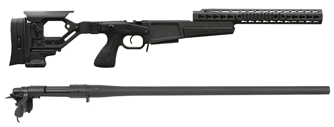 "Remington 700P 5R 308 Win with Accuracy International AX Chassis - 13"" forend tube BLACK"