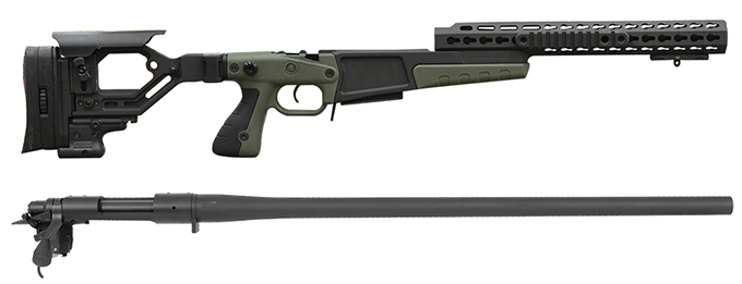 "Remington 700P 5R 308 Win with Accuracy International AX Chassis - 13"" forend tube Green"
