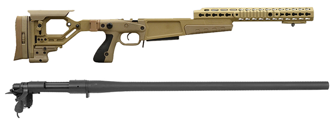 "Remington 700P 5R 308 Win with Accuracy International AX Chassis - 13"" forend tube Pale Brown"
