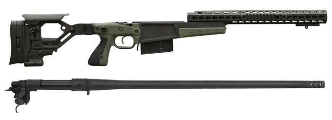 "Remington 700P 5R 300 Win Mag with Accuracy International AX Chassis - 16"" forend tube Green"