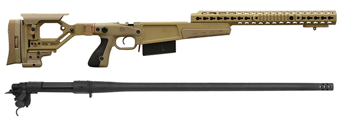 "Remington 700P 5R 300 Win Mag with Accuracy International AX Chassis - 16"" forend tube Pale Brown"