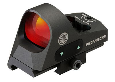 Sig Sauer Romeo 3 Reflex Sight, 1X25MM, 3 MOA Red Dot, 1.0 MOA  Adj, M1913 with Riser, Graphite. MPN SOR31002