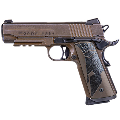 "Sig Sauer 1911, 45 ACP, 4.2"", Spartanii, Distressed Coyote, Sao, Siglite, Spartanii Grip, (2) 8rd Steel Mag, Rail, Pistol 1911CAR-45-SPARTANII"