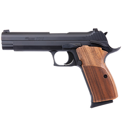 "Sig Sauer P210 Standard 9mm 5"" Blk SS Slide and Frame, Contrast Sights, SAO Target Trigger, Walnut Grips, (2) 8rd magazines 210A-9-B"