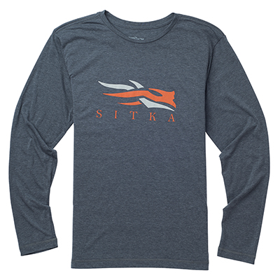 Sitka Logo Tee LS Lead Heather 20091-LH