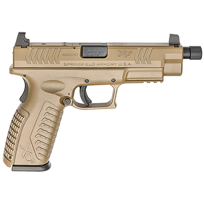 "Springfield Armory XD(M) 9MM 4.5"" All Desert FDE Threaded OSP Pistol w/ 3 Sight Bases & Non-Threaded BBL (w/ 2 Magazines) XDMT9459FHCOSP"