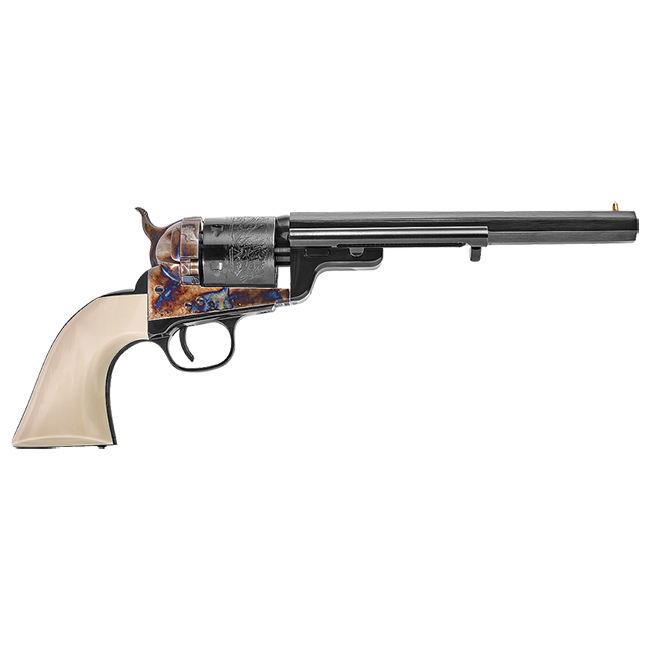 "Uberti Outlaws & Lawmen ""Wild Bill"" .38 Spl 7.5"" 1851 Navy Conversion Blued, C/H, Ivory Grip Revolver 356717"
