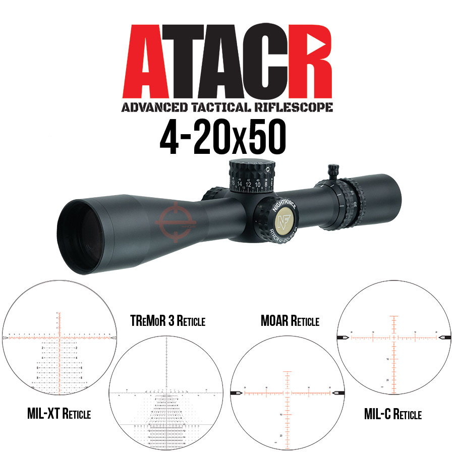 Nightforce 4-20x50 Scope available reticles