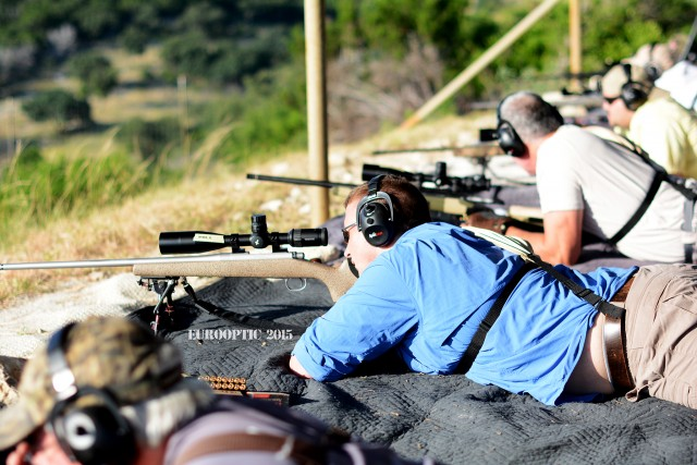 EuroOptic's Josh Holdren ringing some steel. This is a Remington 700 action barreled by Hill Country Rifles, also in 6.5CM.