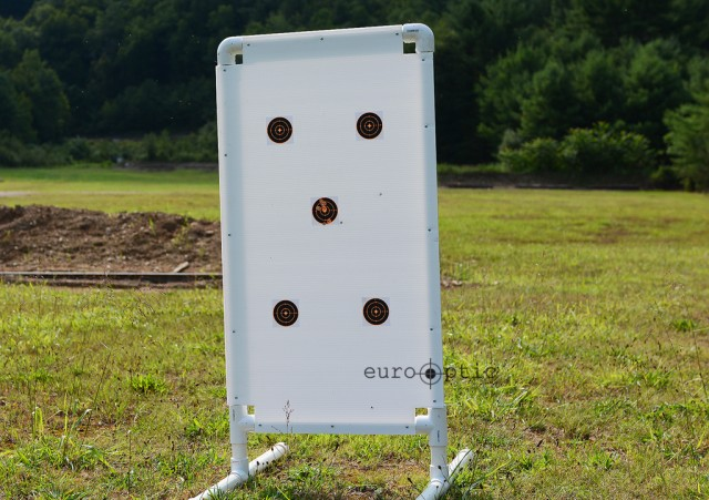 The target frame with targets spaced accordingly. The Center target was used for zeroing.