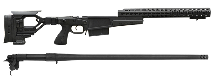Remington 700P MLR 338 Lapua Mag with Accuracy International AX CIP Black  Chassis/Barreled Action Kit Rem700p338-AX-BL
