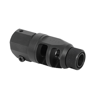 Accuracy International 30 cal / 338 Tactical Muzzle Brake assembly with clamp screw, thread protector and cover. MPN 26804