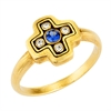 "Alex Sepkus 18K Sapphire and Diamond ""Little Cross"" Ring"