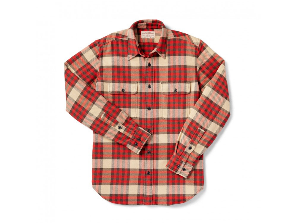 Filson Vintage Flannel Work Shirt Red Tartan 10689 For