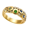 "Alex Sepkus 18K Sapphire and Diamond (Sapphire and/or Tsavorite) ""Candy"" Dome Ring"