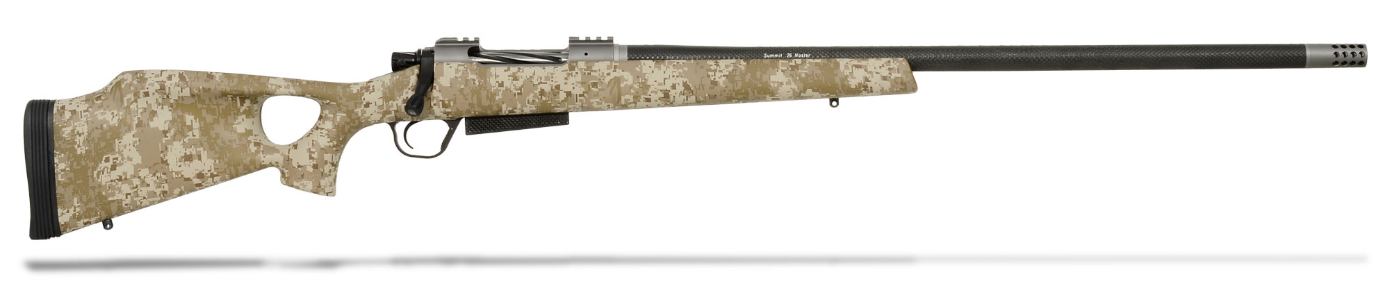 Christensen Arms Summit CF 6.5 Creedmoor Desert Digital Thumbhole Stock with Muzzle brake and Soft Case