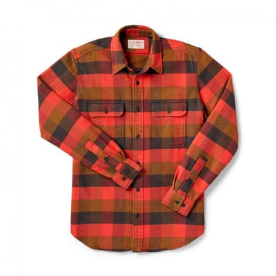 Filson Vintage Flannel Work Shirt Red Mackinaw Buffalo 2XL 10689