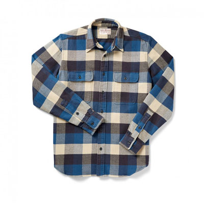 Filson Vintage Flannel Work Shirt Blue Buffalo 2XL 10689