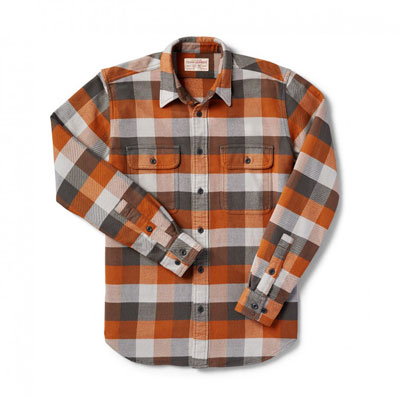 Filson Vintage Flannel Work Shirt Brown Buffalo 10689