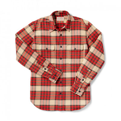 Filson Vintage Flannel Work Shirt Red Tartan 2XL 10689