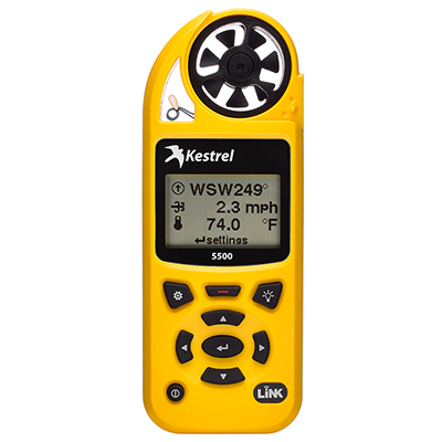 Kestrel 5500 Weather Meter w/ LiNK & Vane Mount Yellow 0855LVYEL