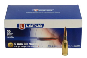 Lapua 6mm BR Norma 105gn Scenar-L Rifle Ammunition LU4316047