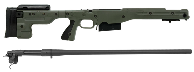 Remington 700P 5R 300 Win Mag with Accuracy International AT Green Fixed Chassis
