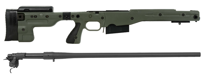 Remington 700P 5R 300 Win Mag with Accuracy International AT Green Folding Chassis